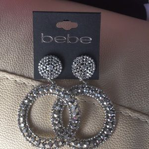 bebe double Ring Hoops w crystals iridescent look